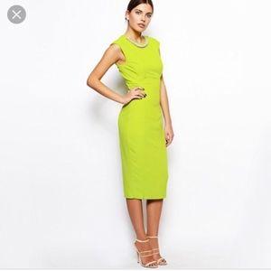 Ted Baker London Dresses - Ted Baker London Erolla Midi Lime Green Neon Dres